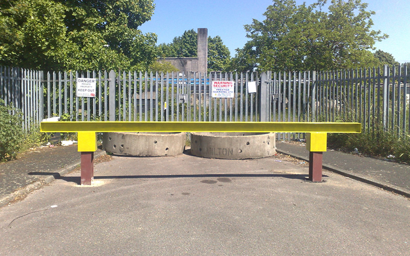 Steel barriers and concrete rings