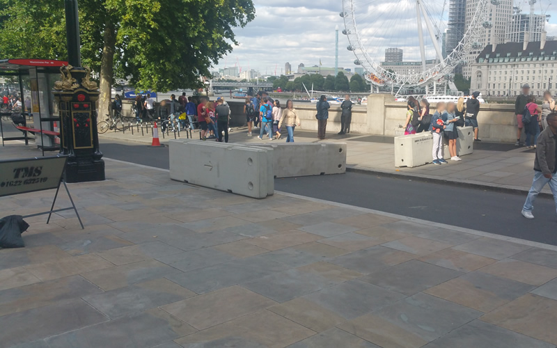 Concrete Barriers in place to protect the public
