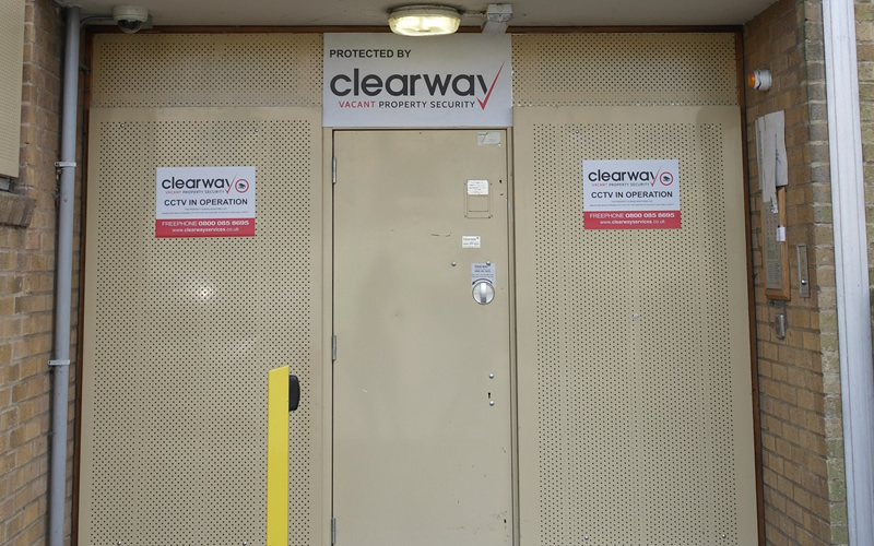 Steel panels and Clearway key-operated steel door